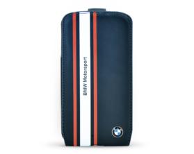 BMW Motorsport Otvírací Kožené Pouzdro Samsung S4 Galaxy Tmavě Modrá