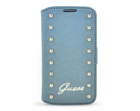 GUFLBKS4MSAS Guess Studded Flipové Kožené Pouzdro stříbrné Samsung Galaxy S4 mini