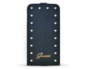 GUFLS5SAB Guess Studded Flip Kožené Pouzdro černé pro Samsung Galaxy S5