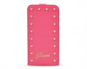 GUFLS5SAP Guess Studded Flip Kožené Pouzdro růžové Samsung Galaxy S5