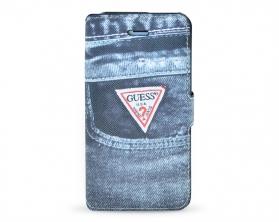 GUMFLBKP5DEBK Guess Denim Book Pouzdro Jeans černá Pro Apple iPhone 5