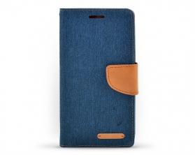 Book case Canvas Huawei Honor 4X tmavě modrá/hnědá