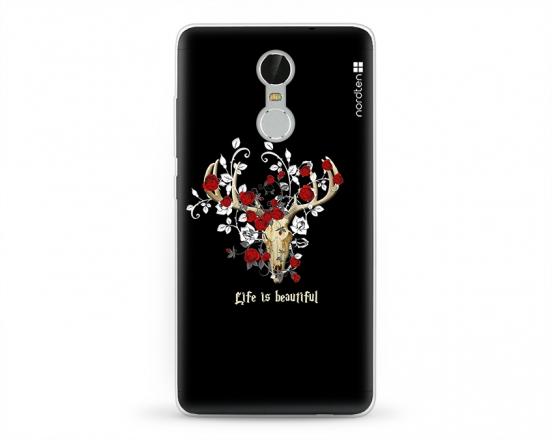 Kryt NORDTEN Rose deer skull Xiaomi Redmi Note 3 silikonový