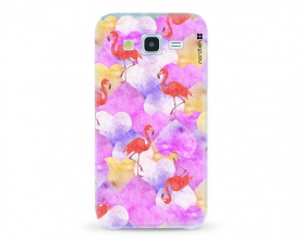 Kryt NORDTEN flamingo hearts Samsung Galaxy J5 silikonový
