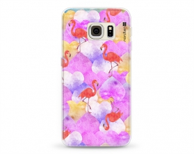 Kryt NORDTEN flamingo hearts Samsung Galaxy S6 Edge silikonový